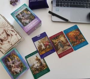 Tarot reading Daily 3 intention Tarot spread Tarot cards courtesy of Doreen Virtue & Radleigh Valentine, Fairy Tarot Cards
